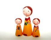 Custom Family portrait dolls -Personalised gifts-Mother and children dolls- Set of three dolls -Family gifts -Mothers day gifts-Wooden dolls