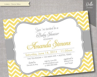 Chevron Yellow Baby Shower invitation - DIY Printable - Digital File