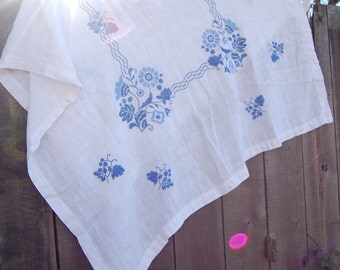 Large White Linen Table Cloth With Blue Hand Embroidered Border