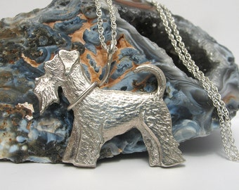 Miniature Schnauzer Necklace, Dog Necklace, Sterling Silver Jewelry
