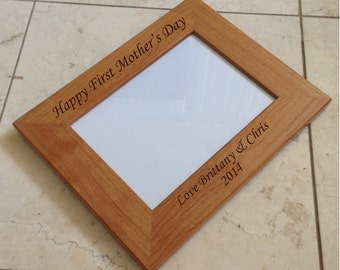 5x7 personalized frame laser engraved wood picture frame top bottom of frame engraved - Engraved Picture Frame