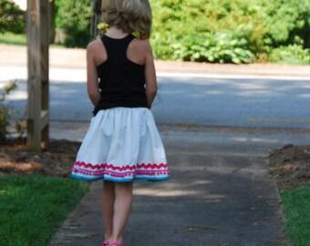 fiesta skirt - girls gathered twirly skirt 2 to 9 years - white skirt with ric rac pom pom and bias trim - girls full skirt