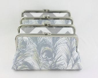 Grey Wedding Clutch / Wedding Purse / Bridesmaid Clutches / Wedding Gifts - Set of 4