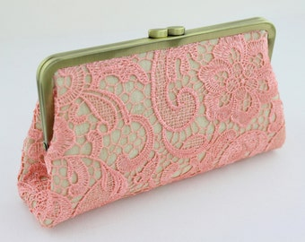 Coral Lace in Linen Bridal Clutch / Wedding Purse / Bridal Purse / Bridesmaid Purse Clutch