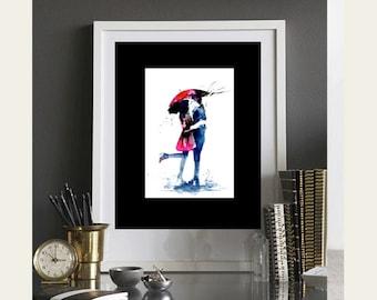 Romantic Painting Love Kiss Red Umbrella - Art Print from Original Watercolor by Lana Moes