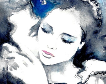 Love Romance Art Print from Original Watercolor Painting Titled Kiss Me, Romantic Bliss, Blue and Black, Romantic Home Decor, Anniversary