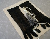 Vintage Womens Gloves Black Lace Knit Mid Long Length Never Worn