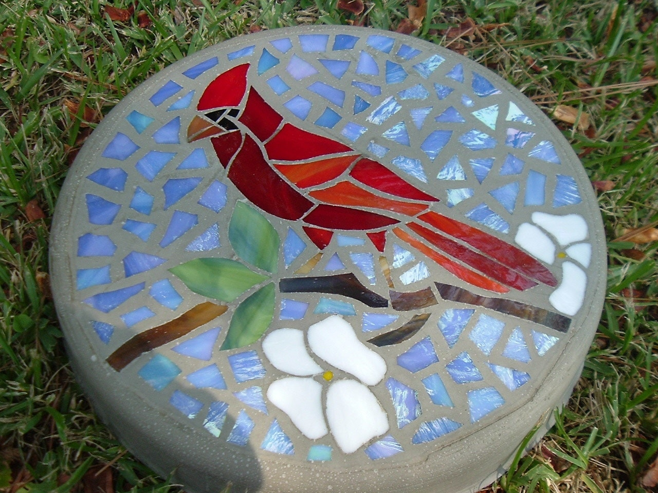Mosaic Stone Cement : Out on a limb mosaic stepping stone cardinal and