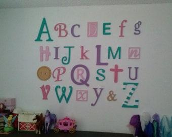 Wooden Alphabet Letters Set Nursery Decor Wall Letters