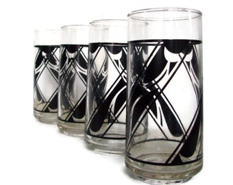 Vintage Tumblers, Drinking Glasses, Black Geometric Design, Mod Decor, Set of 4