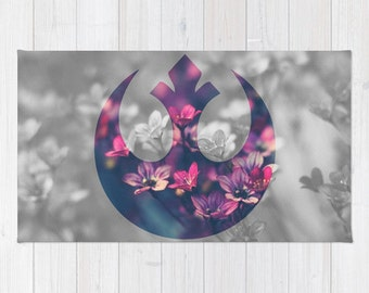 Star Wars Throw Rug, Rebel Alliance Rug, Floral Rebel Alliance Rug, Star  Wars