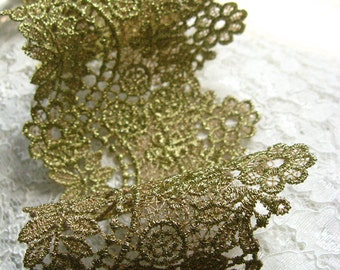 Gold Lace Trim, Baroque Lace Trim, Gold venise lace, Vintage Embroidered Lace, Jewelry Lace