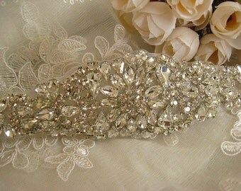 crystal bridal Sash applique, rhinestone bridal Applique, Bridal Applique, wedding applique, beaded rhinestone applique