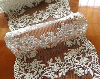off white lace trim, embroidered lace fabric with double trim, bridal lace trim, floral mesh lace