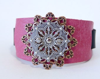 Leather cuff, leather bracelet, Pink leather riveted mixed metal filigree cuff