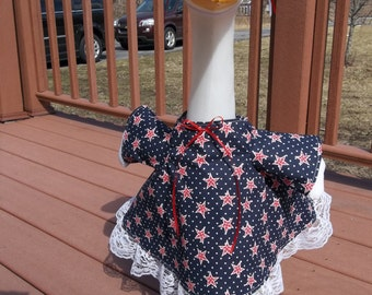 Patriotic Goose Dress in Red White and Blue