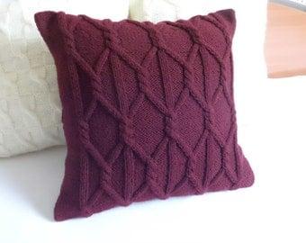 Custom Plum Chunky Hand Knit Pillow Cover, Throw Pillow, Marsala Knit Pillow Case, Decorative Couch Pillow 16x16, 18x18, 20x20, 22x22, 24x24
