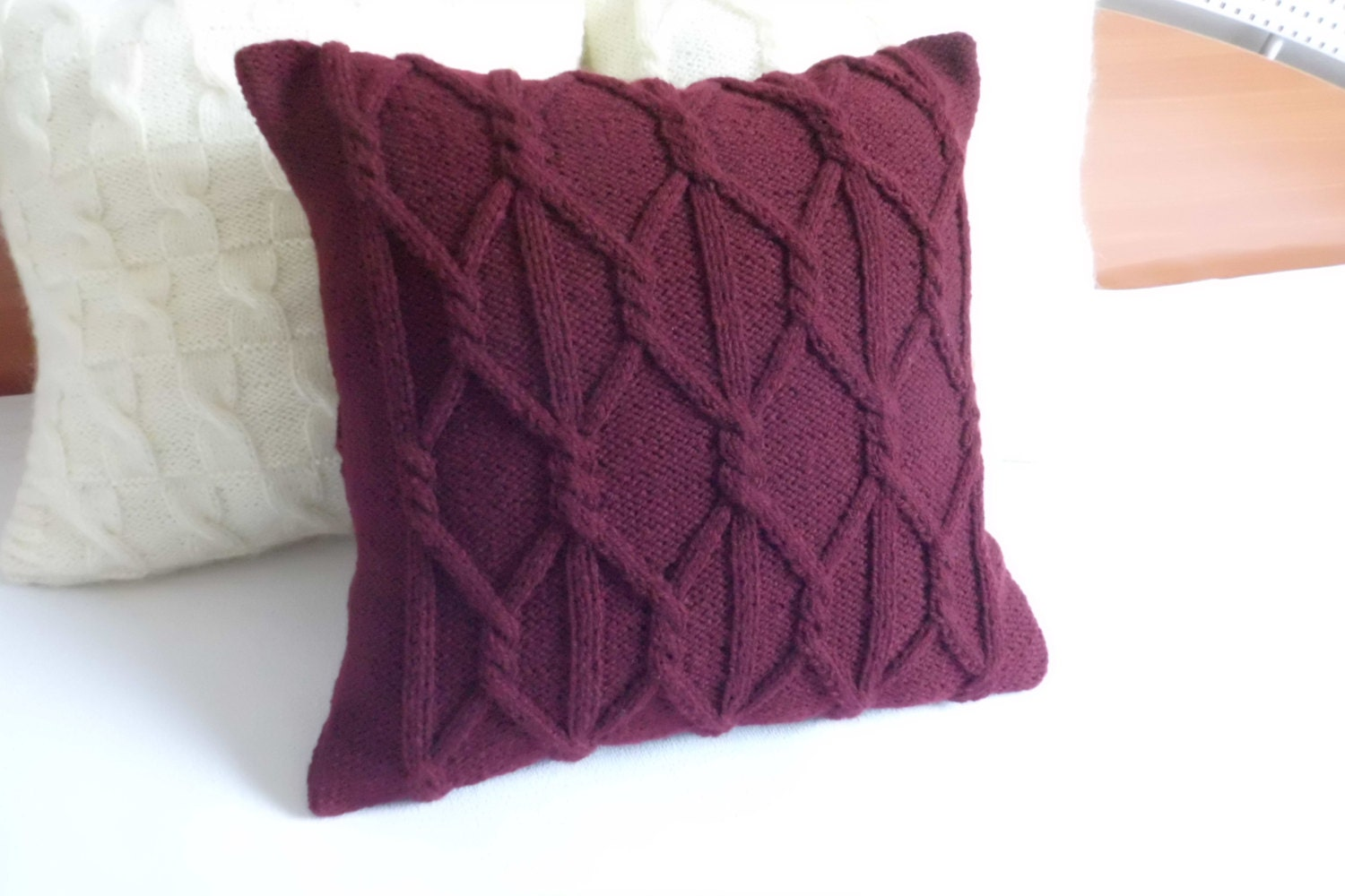 Custom Plum Chunky Hand Knit Pillow Cover Throw Pillow