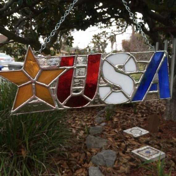 Stained Glass USA (or USN) Suncatcher