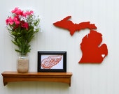 """Detroit Red Wings """"State Heart"""" wall art, handcrafted wood featuring official team colors"""