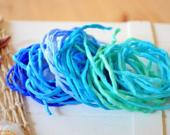 Hand dyed Silk Cords  - Set of 6 - carribean colors silk ribbons
