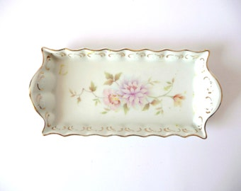 Vintage Porcelain Dresser, Serving, Decorative Plate, Pink Flowers, White, China, Jewelry Tray, Golden Trim