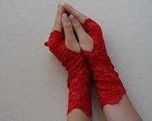 Hot Red lace bridal gloves Bride Wedding fingerless gloves, Red wedding gloves, long fingerles gloves, Lace red fingerless glove