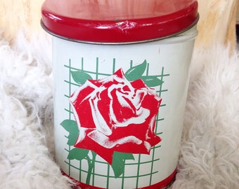 Vintage red rose tin