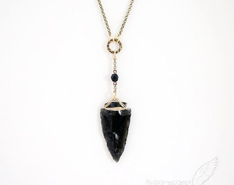 Native Inspired OBSIDIAN Arrowhead, Hand Carved, Boho Gypsy Vintage Antique Link, Black Rhondelle Bead, Necklace