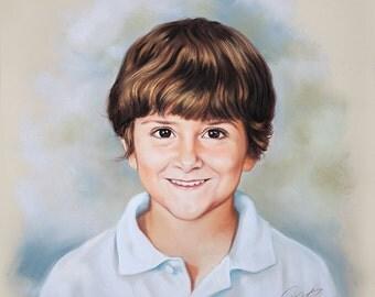 Portrait painting, Pastel of a boy