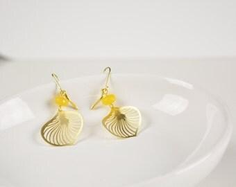 Yellow Topaz Earrings, gold leaf earrings, dangle leaves earrings, 7PM boutique