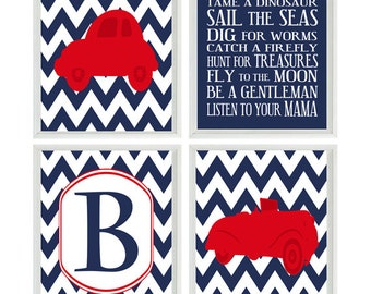 Vintage Car Art Print Set - Baby Boy Nursery Boy Room - Chevron Navy Red Personalized Initial Boy Rules Transportation Wall Art Home Decor