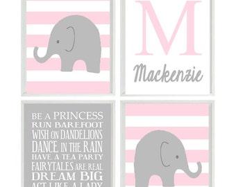 Nursery Art, Elephant Nursery, Baby Girl Nursery Prints, Name, Personalized, Gray, Pink, Nursery Decor, Girl Rules Print, Girl Nursery Art