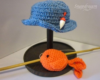 Newborn photo prop, fisherman hat and fishing rod