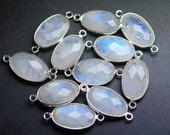 925 Sterling Silver,RAINBOW MOONSTONE Faceted Oval Shape Pendant,2 Piece of 37mm approx