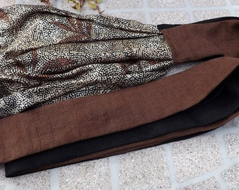 Linen & Rayon Long Head Band Scarf with Matching Wrap Ties