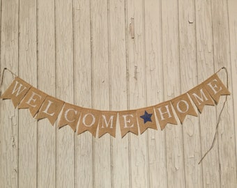 WELCOME HOME Banner, Patriotic Burlap Banner, Military Homecoming, Patriotic Bunting, Patriotic Decor, Burlap Banner, Bunting Garland