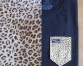 Cheeta Print Pocket Tee