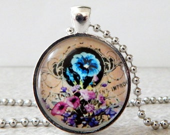 Morning Glory Pendant, Morning Glory Necklace, Vintage Morning Glory, Morning Glory Jewelry, Blue Morning Glory, Spring Jewelry
