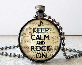 Keep Calm and Rock Pendant, Keep Calm and Rock on Necklace, Keep Calm Jewelry, Glass Art Pendant, Rockers Pendant, Rock On Necklace