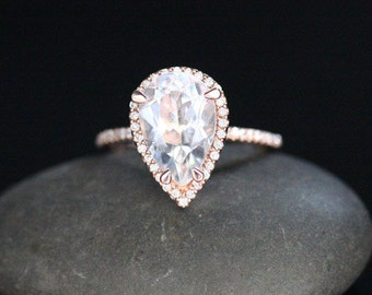 White Topaz Halo Engagement Ring 14k Rose Gold Diamond Ring with White Topaz Pear 12x8mm