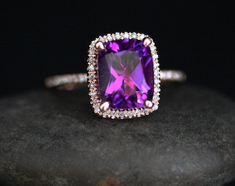Rose Gold Amethyst Engagement Ring with Natural Amethyst Cushion 10x8mm and Diamond Halo in 14k Rose Gold