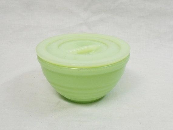 vintage jadite ribbed beehive Drippings Bowl glass covered grease jar
