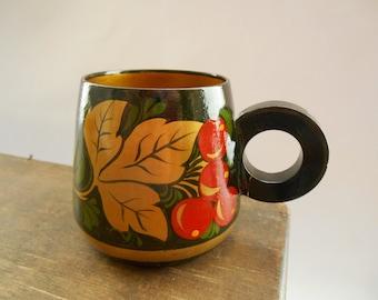Vintage Russian Khokhloma cup Handpainted wooden mug Soviet cup Russian folk art