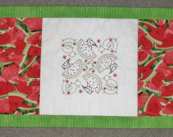 Table Runner - Hand Embroidered - Crows and Watermelon - Summer