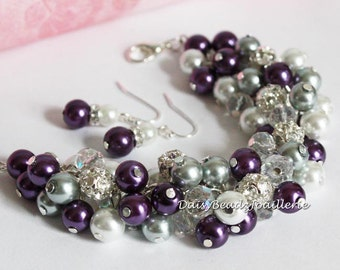 Purple and Grey Bracelet, Purple and Silver/Gray Pearl Cluster Bracelet, Purple Pearl Bracelet, Bridesmaid Grey Bracelet, Grey Pearl Jewelry