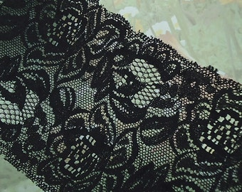 Black Elastic Lace 4 inch wide Trim Black Stretch Lace diy Headbands Lingerie Bra Elastic Lace by the yard