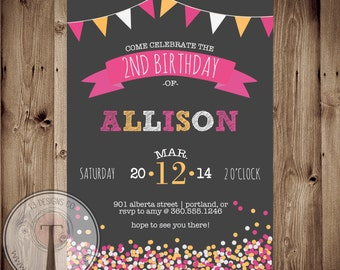 tween birthday party invitation confetti 11th birthday