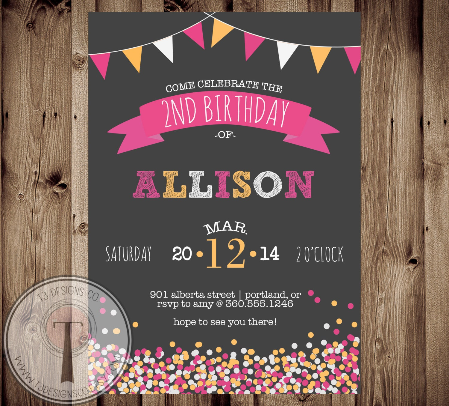 Confetti birthday invitation, chalk, girls birthday, tween birthday ...