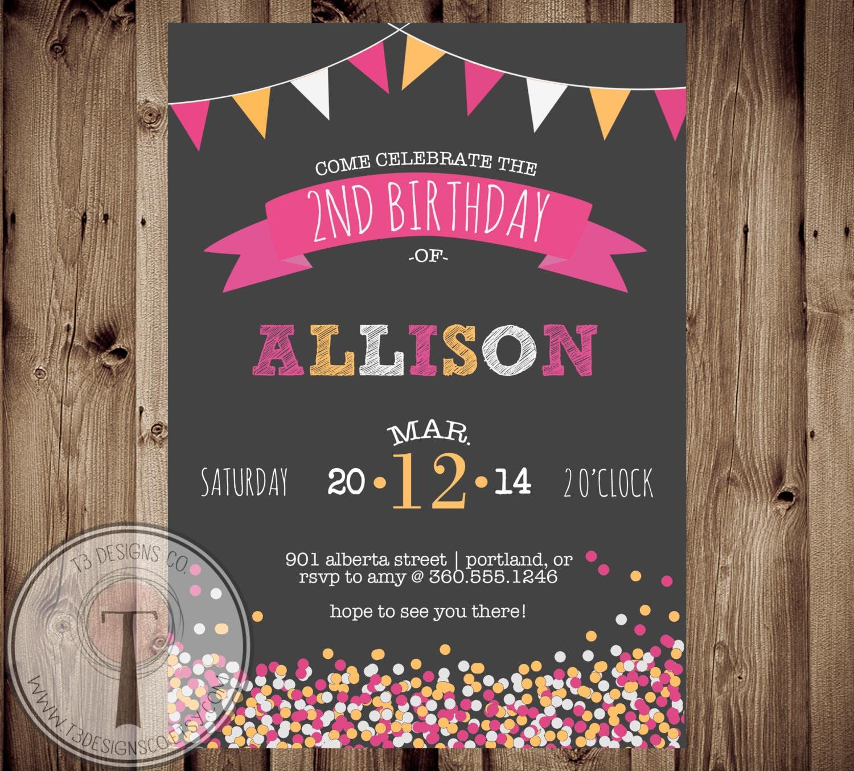 Confetti Birthday Invitation Chalk Girls Birthday Tween